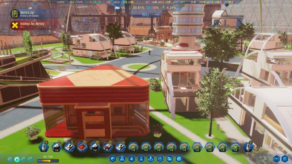 Tienda y viviendas en el interior de una cúpula
