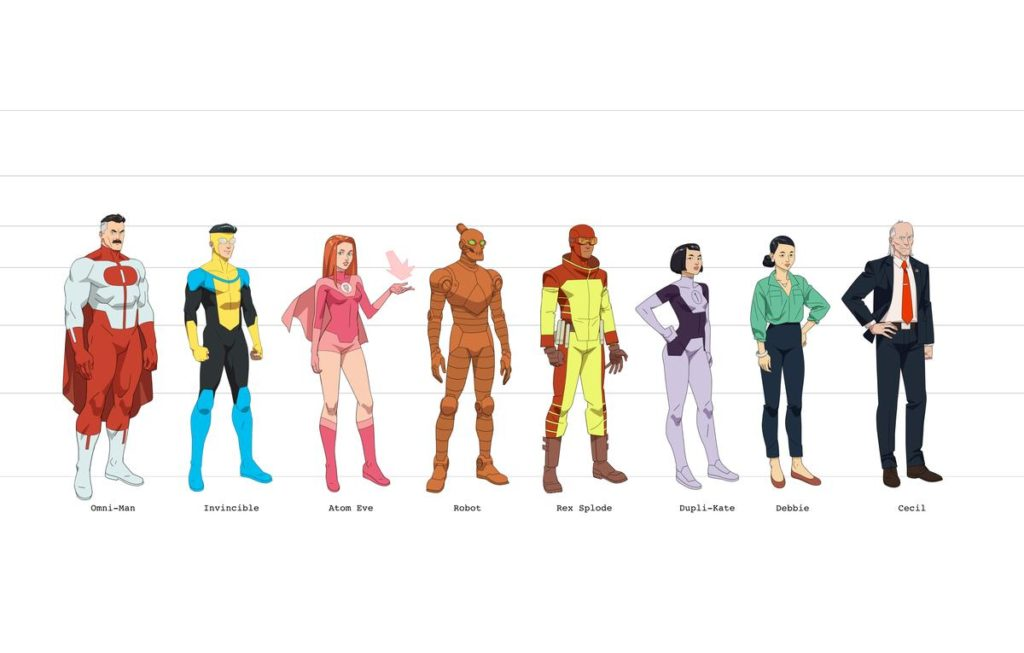 Invincible diseño de Personajes