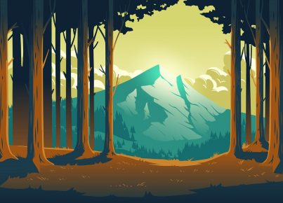Cartoon nature landscape with mountain and forest
