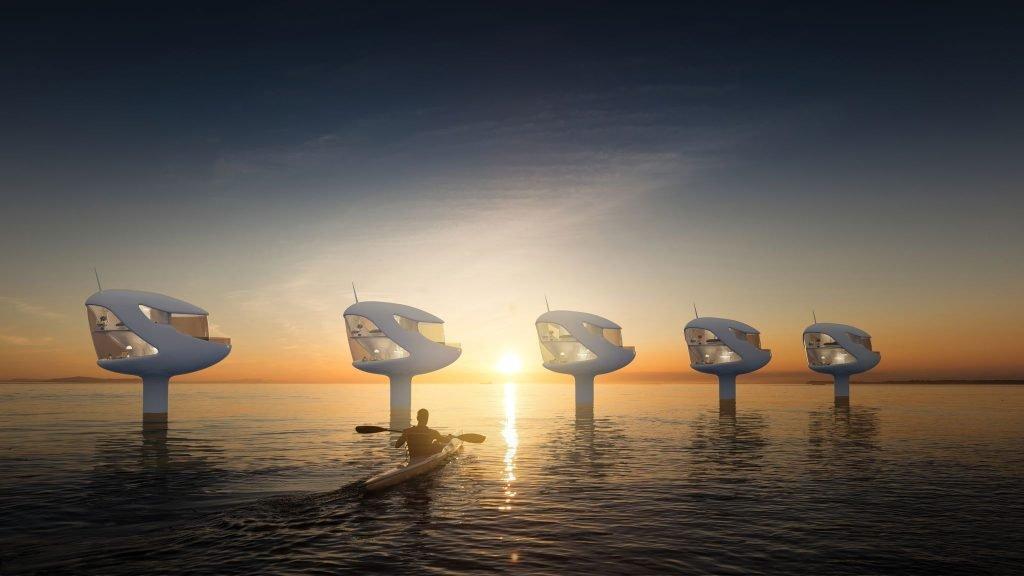 ocean Builders Seapods al amanecer